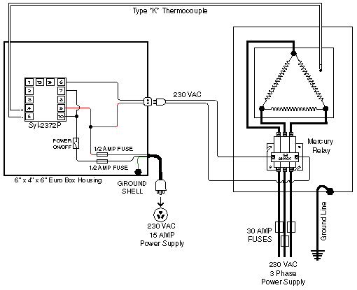 three phase glass casting kiln 110-Volt Relay Diagram
